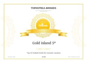 Награда Лучшие 10 Отелей в Турции для романтического отдыха.